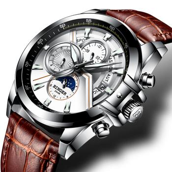 Szwajcarski zegarek Binger mężczyźni luksusowe markowe zegarki męskie faza księżyca zegarki podświetlane mężczyzna wodoodporna mechaniczne zegarki na rękę B1189 tanie i dobre opinie Klamra 22cm 3Bar Ze stali nierdzewnej Automatyczne self-wiatr 42mm Okrągły Skóra 22mm 12MM Szafirowe Odporny na wstrząsy