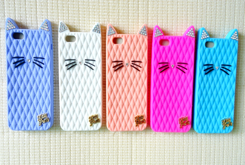 2015 Newest Bling Diamond Katy Perry Cute Cartoon Cat Kitty Purry Metal Brand Soft Silicone Case Apple iphone 6 4.7inch - Shen zhen HW (3C store Digital Accessories Company)