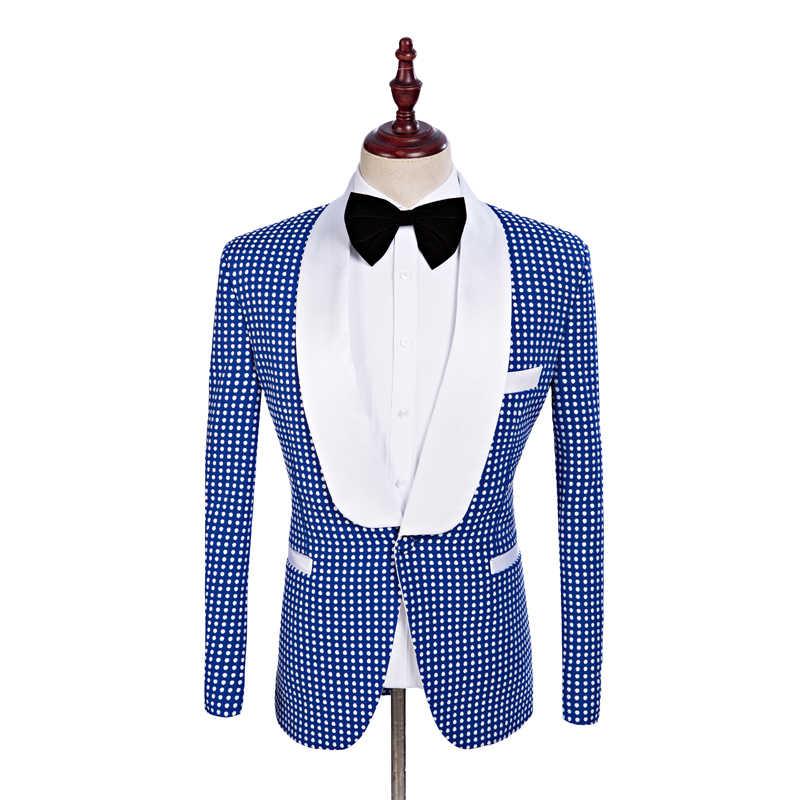 2018新しいブランドの付添人ショール白いラペル新郎タキシードロイヤルブルー男性スーツウェディング最高の男(ジャケット+パンツ+ネクタイ+ハンカチ) c6