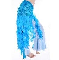 חם ירך לעטוף צעיף 5 צבעים בפועל בגדי ריקודי בטן ציצית חצאיות ריקודי בטן שיפון בת ים פאייטים כושר מתכווננת