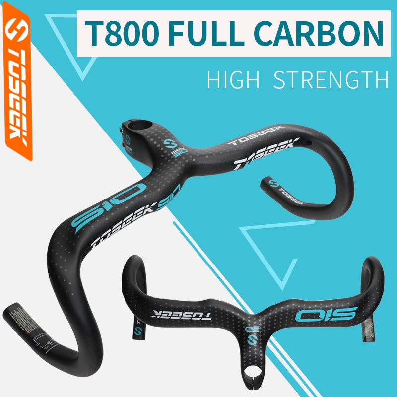 TOSEEK 510 Full Carbon Fiber Bicycle Handlebar Road Bike Handlebar Stem Intergrated Bent Bar 400/420/440mm Bike Parts road bike bicycle carbon fiber handlebar cycling horns handle bar ultra light high strength handlebar accessories 400 420 440mm