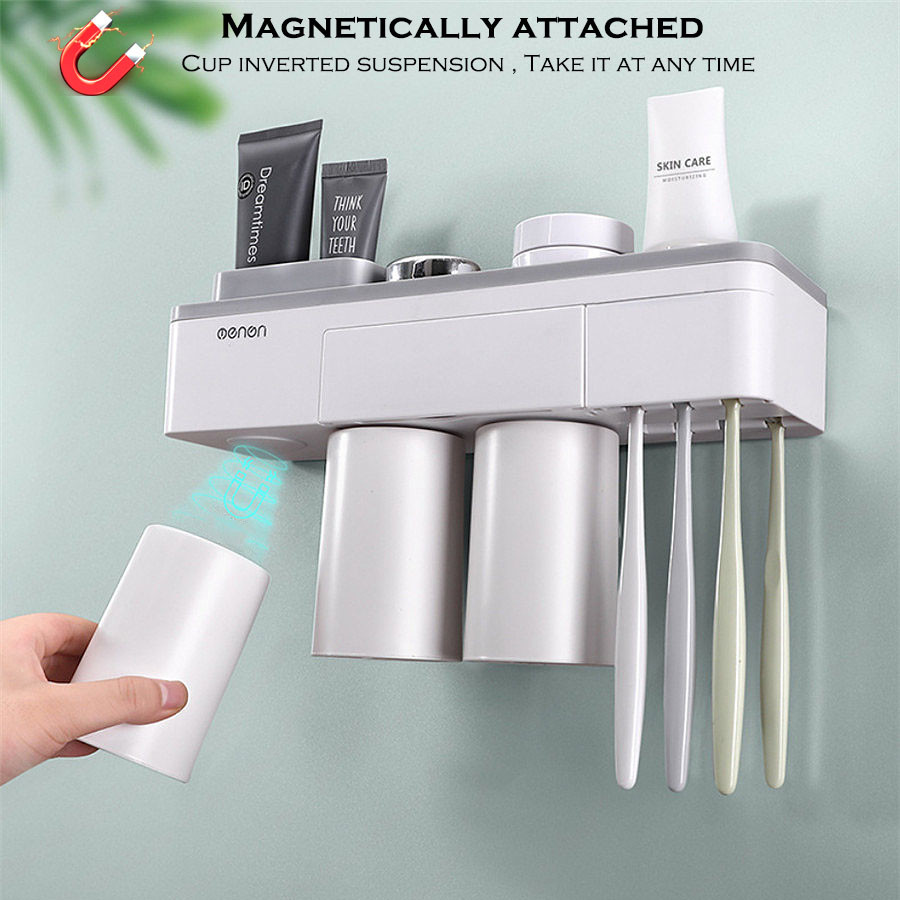 Magnetic attraction <font><b>toothbrush</b></font> holder toothpaste Shaver Shelf 2 3 cup Storage <font><b>Rack</b></font> bathroom washroom accessories set Wall image