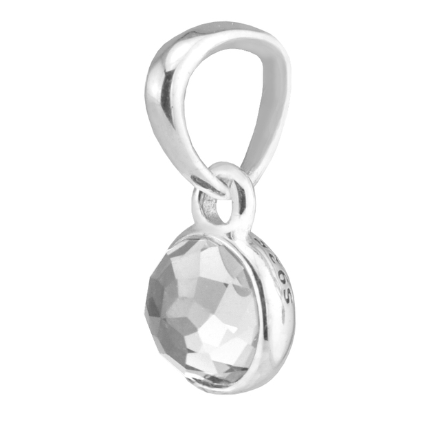 Serve para pandora pulseiras encantos gota com cristal de rocha De Abril 100% grânulos de prata esterlina frete grátis