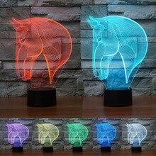 Calidad superior de La Manera 3D Cabeza de Caballo Lámpara Atmósfera Humor Visual multicolor Luz de La Noche Decoración de La Lámpara de Dormir libre gratis