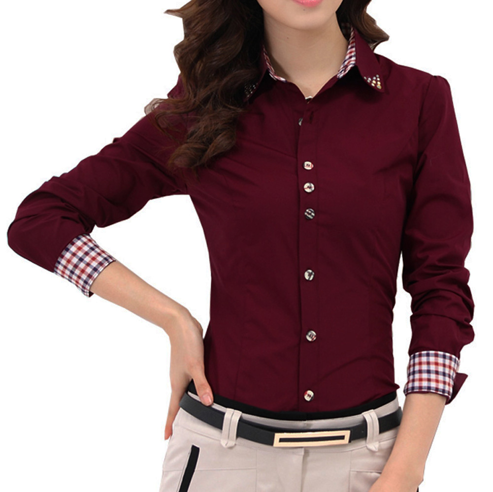 2019 Autumn Spring OL Womens   Shirt   Patchwork Plaid Ladies Office   Shirts   Basic Top Blusas Women   Blouses     Shirt   Camisas Femininas