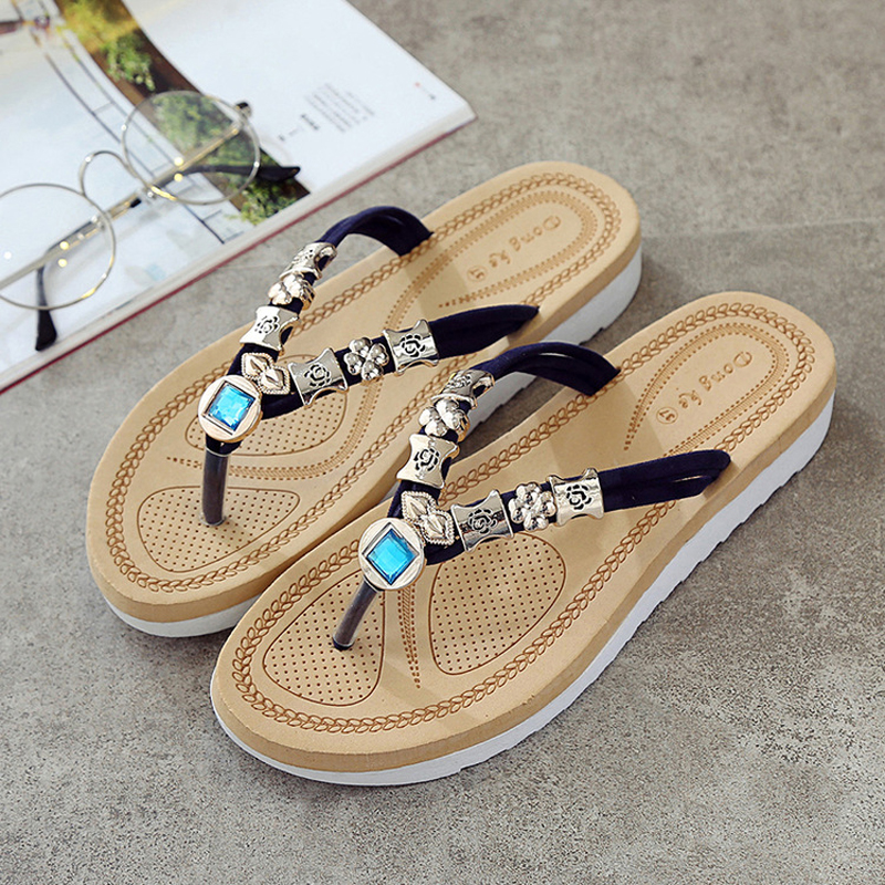 Womens Flip Flops Thongs Wedges Low Heel Beach Shoes Summer Casual Beads  Flat Cartoon Owl Rhinestone 8H0081-in Flip Flops from Shoes on  Aliexpress.com ... b8236007c005