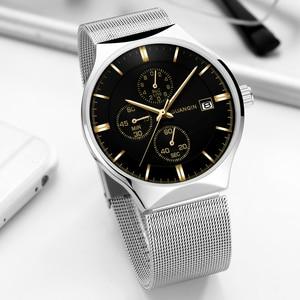 Image 2 - 2018 nouveau GUANQIN Top marque de luxe montres hommes daffaires chronographe maille sangle horloge hommes de mode en acier Quartz montre bracelet