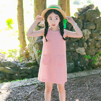 Plaid Pockets Children Clothes 2018 Big Girls Dress 10 To 12 Years Pink Child Princess Dress