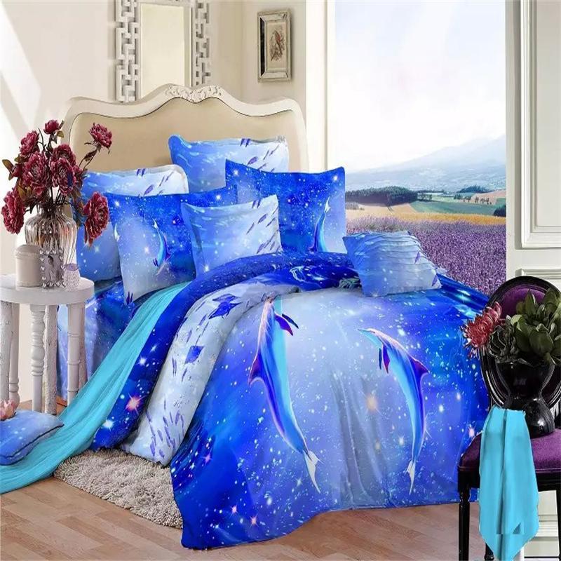 Fantastic Blue Ocean 3d Dolphin Fish Bedding Set Queen