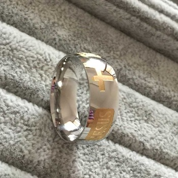 8mm 316 Titanium Steel silver plated christian ring jesus cross Letter bible silver wedding band ring men women