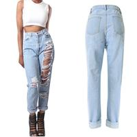 Comfortable Leisurely Relaxing Womens Ladies Celeb Stretch Ripped Skinny High Waist Denim Pants Jeans Women Jeans