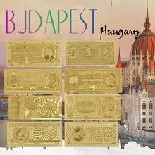 Billetes de oro de Hungría al por mayor, juego de 8 Pcs15-1000000, dinero falso de oro Forint en período diferente, decoración para el hogar gratis Coa