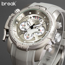 BREAK Unique Men Luxury Brand Casual Fashion Rubber Band Sport Wristwatches Man Quartz Chronograph Army Waterproof Watches reloj