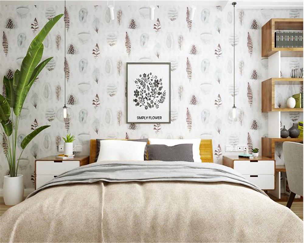 beibehang Modern Nordic wallpaper fashion feather living room TV background restaurant American pure paper 3d wall paper tapety meredith clausen pietro belluschi – modern american architect paper