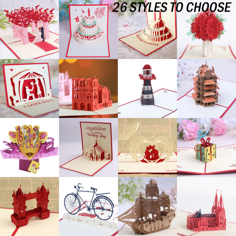 3D Pop Up Cards Valentine Lover Happy Birthday Xmas Anniversary Greeting Free Delivery July 2019