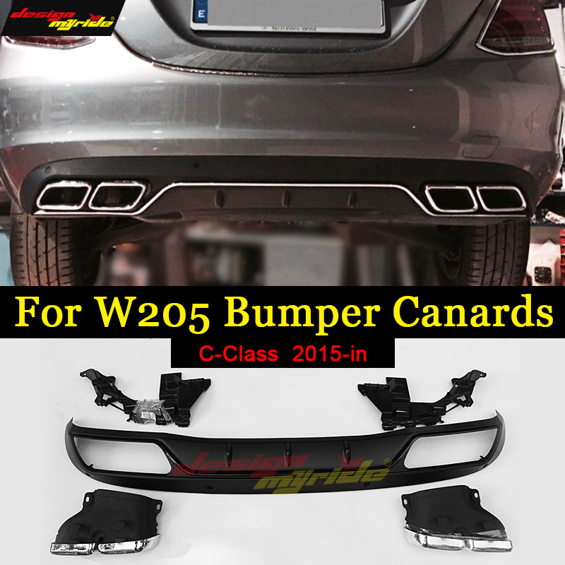 For Mercedes Benz W205 rear Bumper diffuser with exhaust tips ABS AMG Style c-class 4 door C200 C220 C250 C300 c350 c400 2015-in