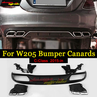 For Mercedes Benz W205 rear Bumper diffuser with exhaust tips ABS AMG Style c class 4 door C200 C220 C250 C300 c350 c400 2015 in