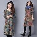 Makuluya 2016 лучше ткани женщины платья новые зимние платье размер народном стиле хлопка длинные свободные рукава платья
