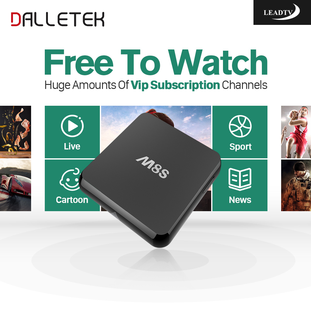 Dalletektv M8S Android TV Box Amlogic S812 Quad Core 2G 8G 2.4 WiFi 4K Leadtv Abonnement Arabic French Italia IPTV Smart TV Box