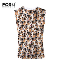 FORUDESIGNS Fashion 3D Animal Yorkshire Dog Print Men Tank Top Breath Comfort Top Tees for Male Summer Sleeveless Chaleco Hombre