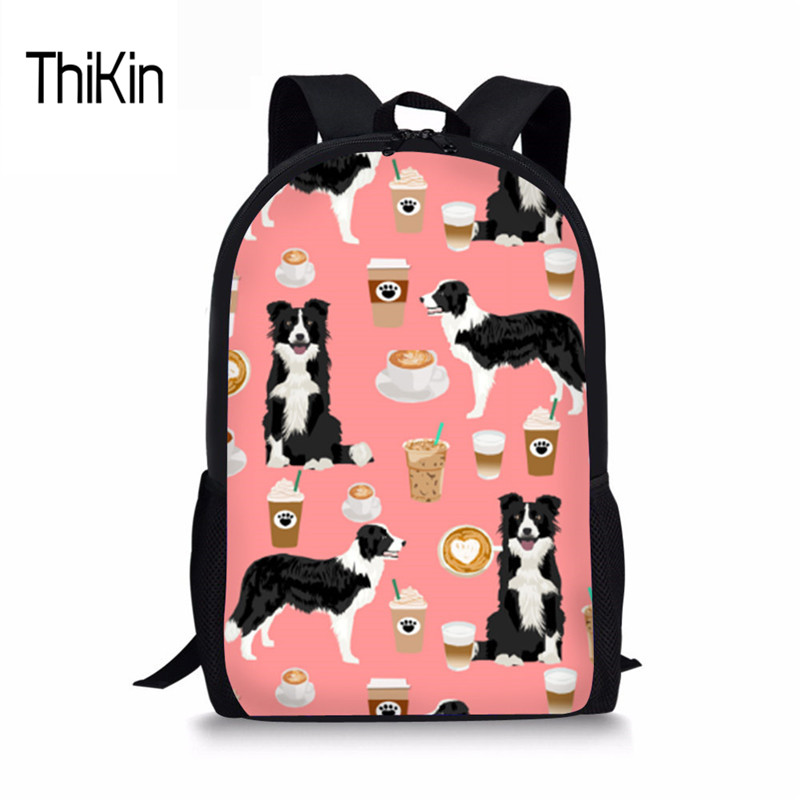 THIKIN Border Collie Children Schoolbag for Girls Primary School Book Bag Sac Enfant Kids School Bags Printing Fashion Backpack