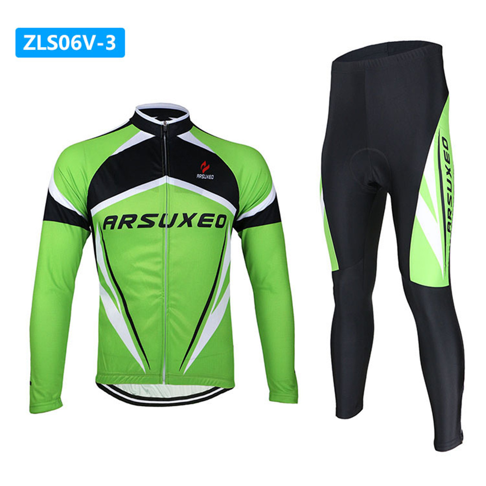 0d2c1613c Aliexpress.com   Buy ARSUXEO Breathable Long Sleeve Road Bike Bicycle  Jersey+ Tights 3D Coolmax Gel Paded Men s Cycling Jersey Clothing Wear from  Reliable ...