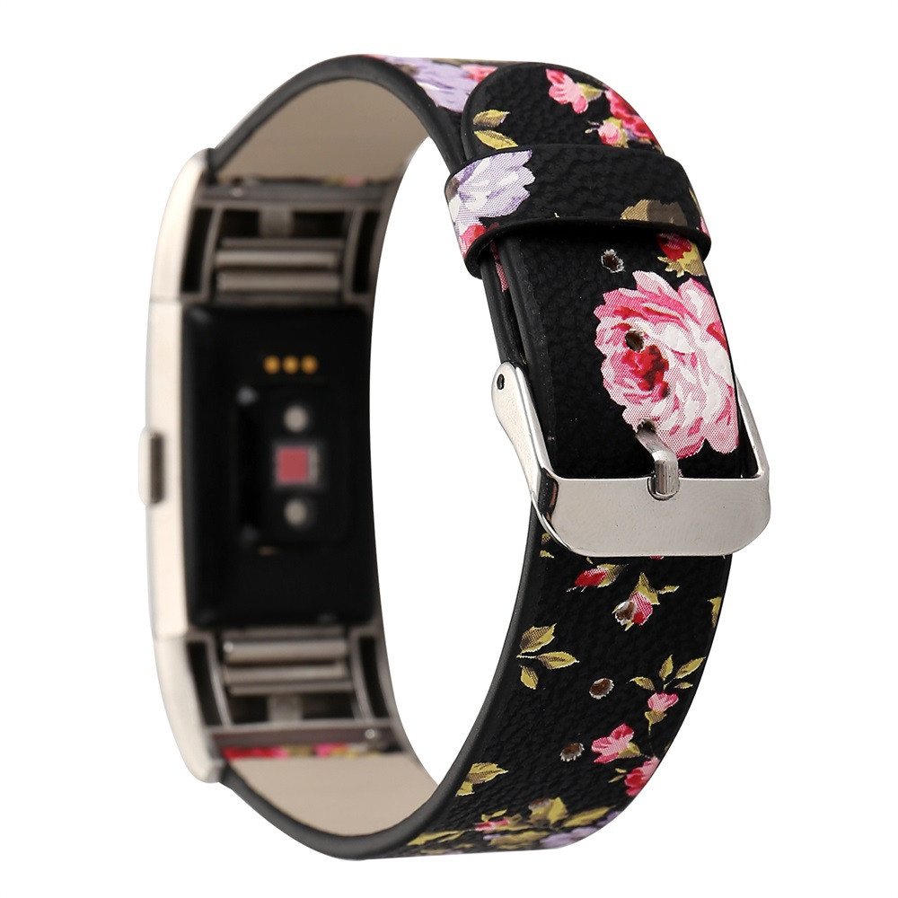 CARPRIE 2017 Flowers Pattern Leather Replacement Quick Release Kit Band Bracelet Wristband For Fitbit Charge 2 Smart Watch SE13a
