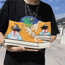 2019 New Canvas Shoes Men Cartoon Dragon ball Hand-painted Casual Shoes Graffiti Student Flat Shoes Men Fashion Anime Shoes