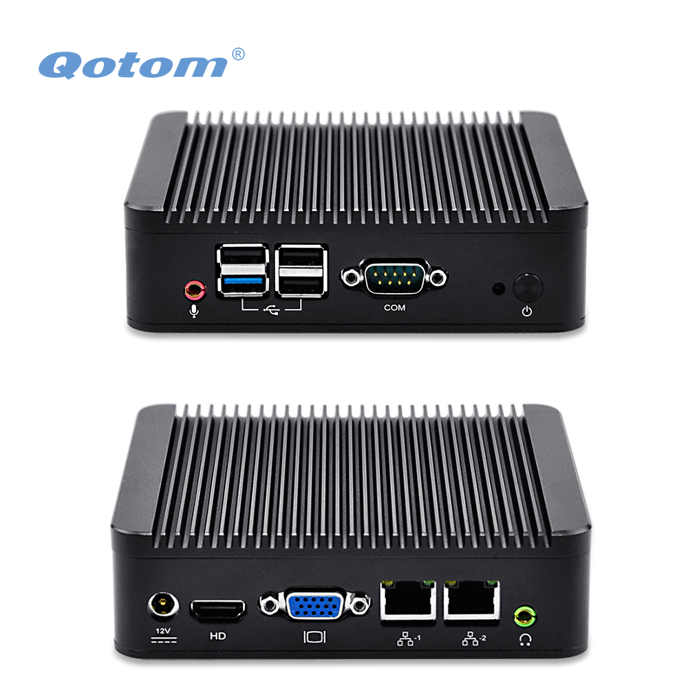 QOTOM Fanless Mini PC j1900/ j1800, Dual LAN Mini PC PFSense/ Win 7/8/10/ Linux, X86 Mini PC with Serial Port dc 12v desktop pc win 7 win 8 win 10 linux kingdel mini industrial pc with celeron 1037u processor x86 mini pc dual lan