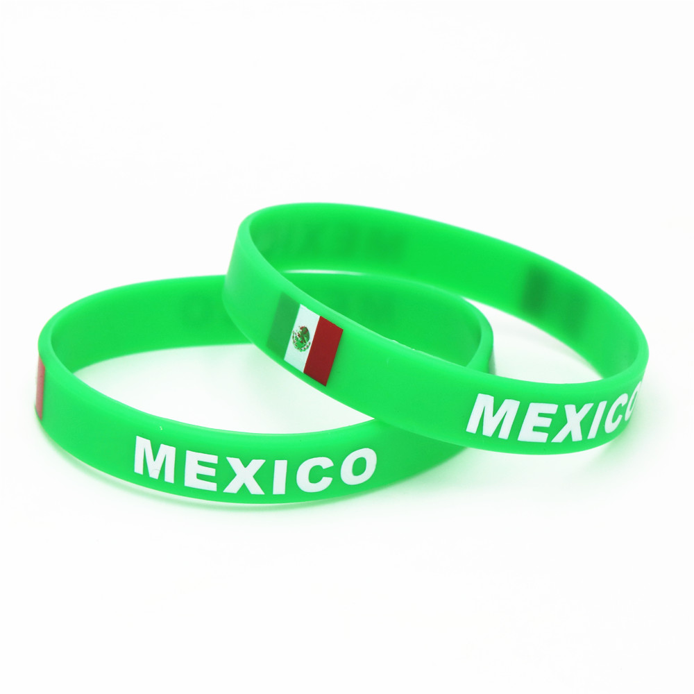 1PC Mexico Country Flag Silicone Wristband Football Soccer Team Fans Sport Elastic Rubber Bracelets Bangles 2018 Armband SH233