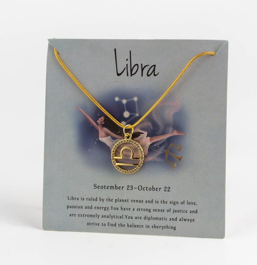 Ожерелье с подвеской в виде животных 12 созвездий для женщин, чокер для пар, массивная цепочка, ожерелье золотого цвета, Знак зодиака с коробкой для карт - Окраска металла: 5