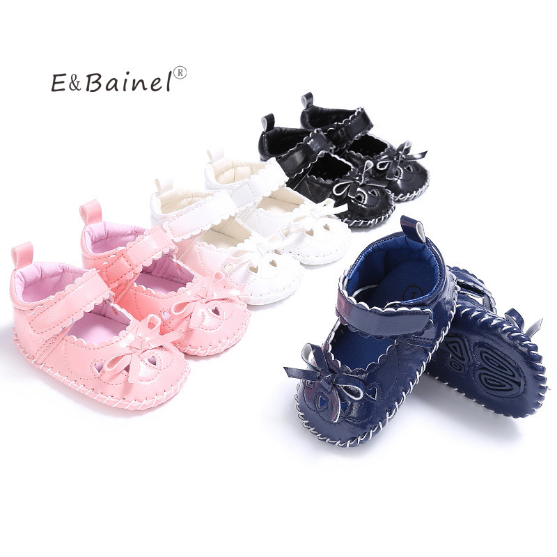 E&Bainel Butterfly-Knot PU Leather First Walkers Soft Soled 0-18M Infant Toddler Newborn Baby Girl Princess Shoes