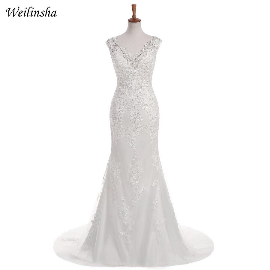 6616a210275b Weilinsha Φτηνές νυφικά νυφικά Sexy V-neck Αμάνικο φόρεμα νυφικό Γοητευτική  γοργόνα μακρύ φόρεμα νυφικά Ves.
