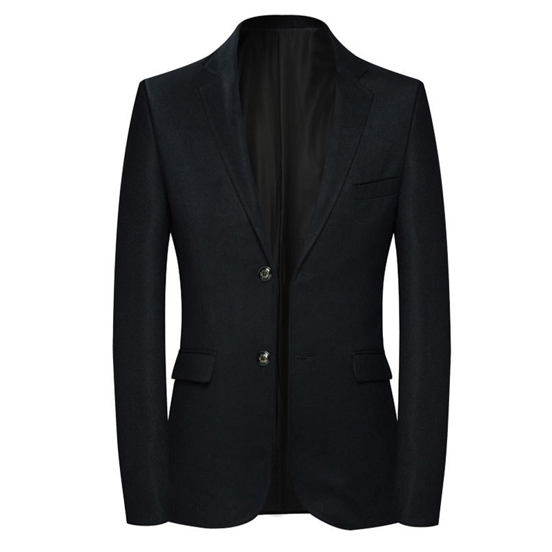 Sensfun High Quality Black Man Suit Blazers Jacket Silm Style Casual Business Coat Two Buttons For Groom Wedding Prom Party