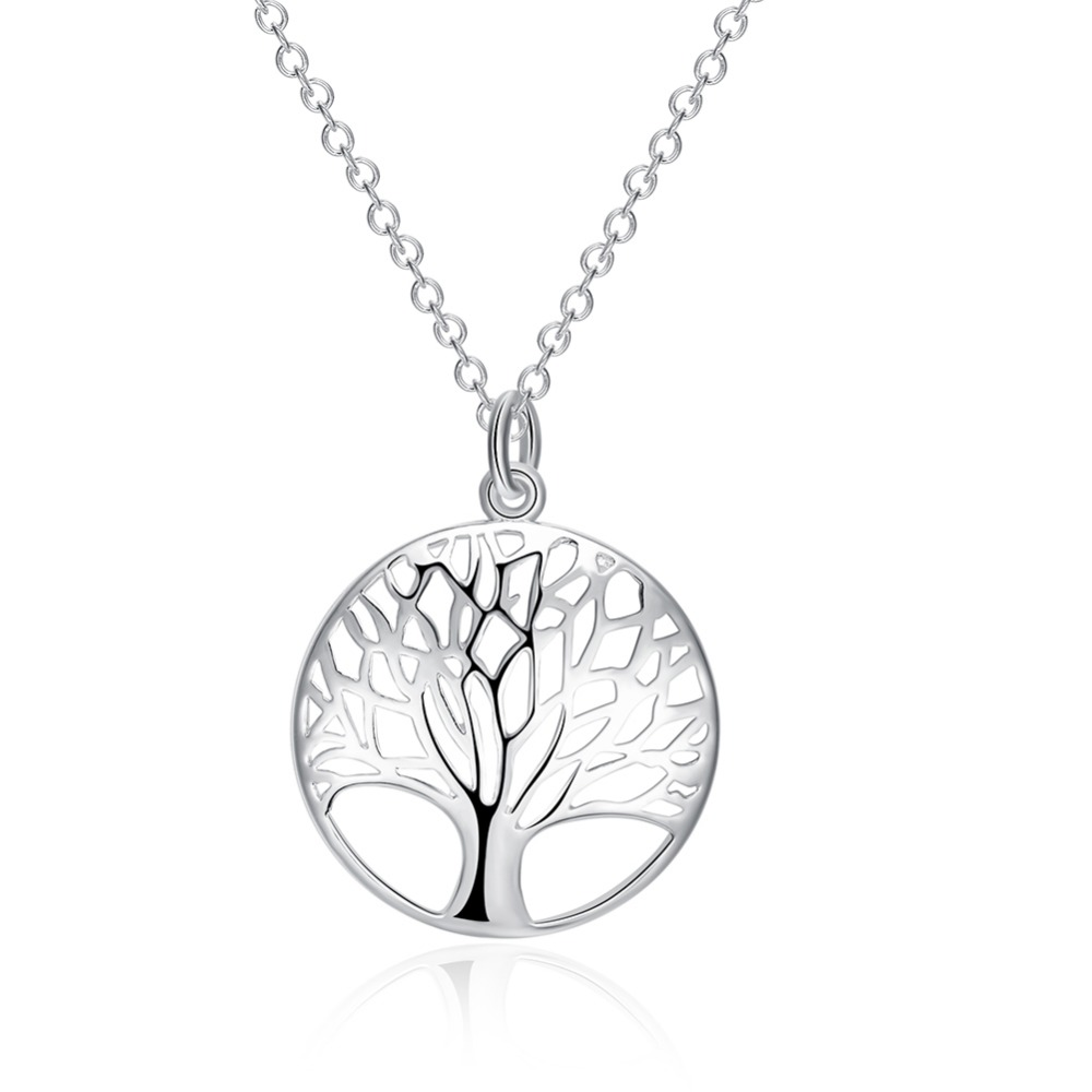 New Design Tree of Life Pendant Necklace High-quality 925 stamped silver plated Female Charm Necklace Jewelry Gift For Family ...