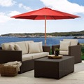 Outdoor 10Ft Umbrella Sun Shade Wood Pole Beach Cafe Patio & Garden Red Goplus  OP2227-10RE