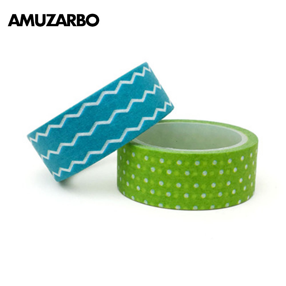 1PCS Blue Wavy Green Wavy Points Masking Tape Washi Adhesive Tape Stationery Decorative Cute Sticker Decorative Paper Tape