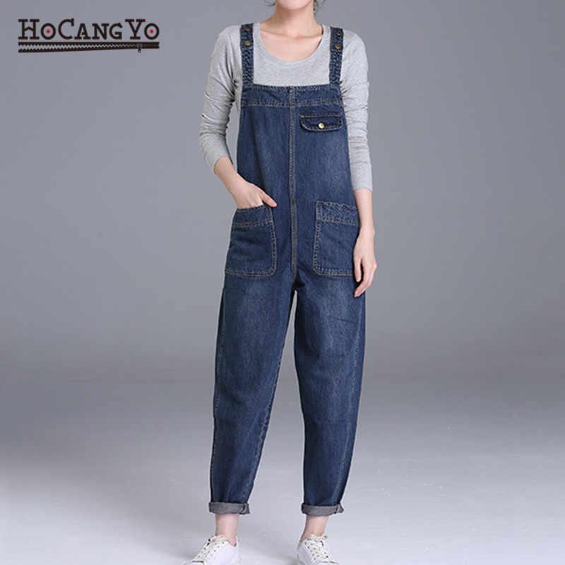 HCYO Плюс Размер 6XL женские джинсовые комбинезоны брюки свободные повседневные Широкие джинсовые комбинезоны для женщин 200 фунтов жира мм комбинезон Комбинезоны