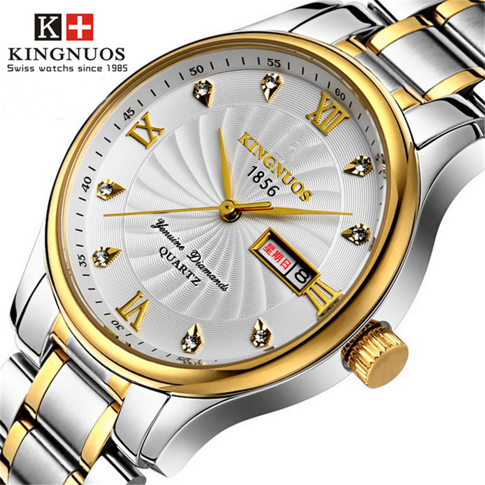 Kingnuos genuine watch waterproof men wrist watches watchband stainless steel clock between gold for Kingnuos watch