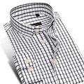 Caiziyijia primavera 2017 hombres camiseta slim fit oxford camisas de vestir con botones en el cuello de manga larga de hombre clásico de arrugas envío camisa a cuadros