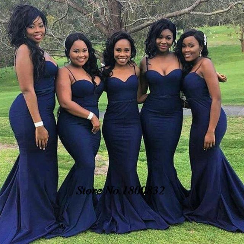 Navy Blue Mermaid   Bridesmaid     Dress   Spaghetti Straps Floor Length Prom Gown vestido de festa de casamento Custom Made