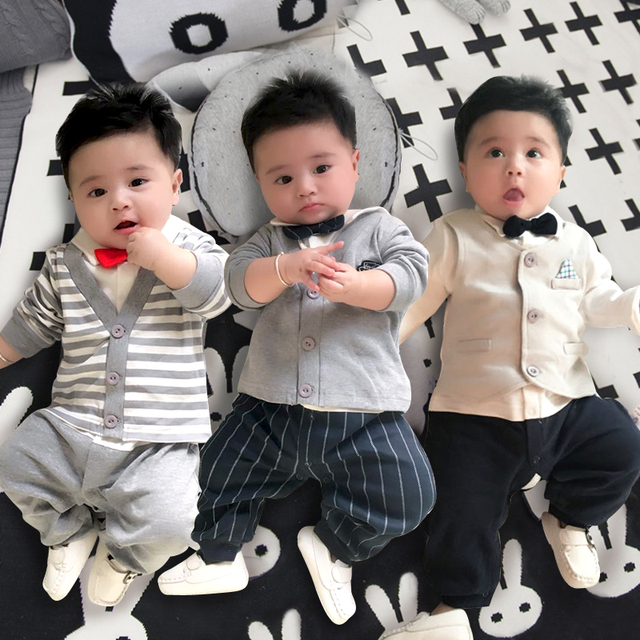 05a951629 Baby jumpsuit clothes male 0 2 years old 3 months 1 spring and ...