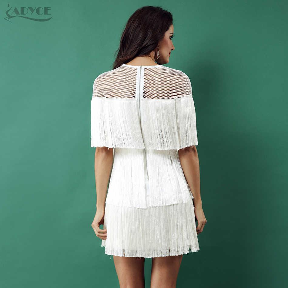 Adyce 2019 קיץ לבן גדילים סלבריטאים ערב המפלגה שמלת נשים שחור קצר שרוול רשת סקסי חלול החוצה פרינג 'מועדון שמלות