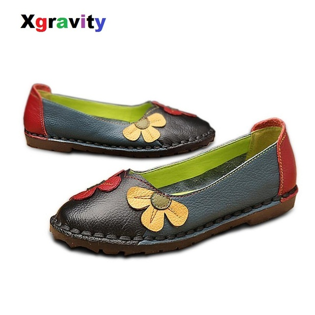 Xgravity Summer Autumn Fashion Flower Design Round Toe Mix Color Flat Shoes Vintage Genuine Leather Women Flats Girl Loafer