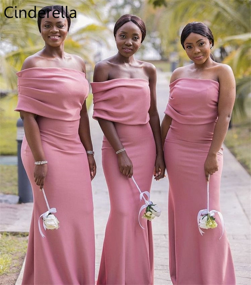 Cinderella African Pink Strapless Off The Shoulder Satin Pleated Mermaid Bridesmaid Dresses Zipper Back Wedding Bridesmaid Dress
