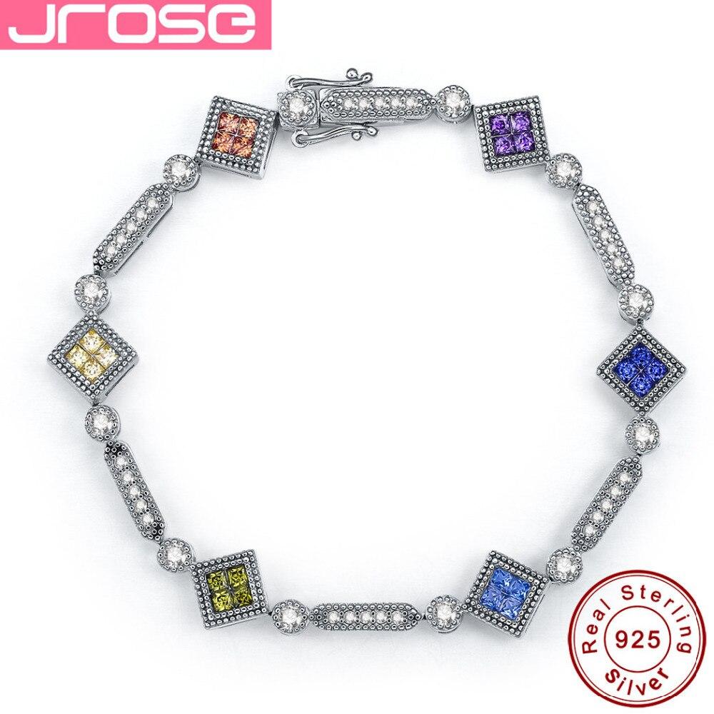 Jrose 100% véritable qualité standard 925 en argent Sterling CZ bracelet, chaîne de chaîne multicolore, cadeaux féminins peuvent être en gros