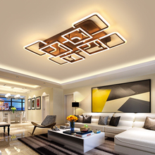 Brown Modern led ceiling lamps for living room bedroom home lighting Remote Dimming lustre led plafond ceiling lights fixtures three color dimming led ceiling light modern brief rectangle living room lamps study lights with remote controller 220v lighting
