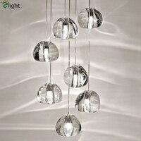 Modern Villa Stairs Meteor Led G4 Pendant Chandelier With G10 Spotlight Lustre Crystal Ball Led Chandelier Lighting Hanging Lamp