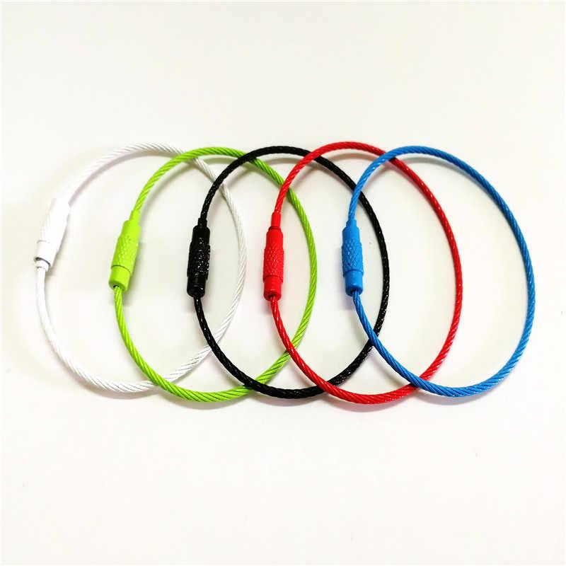 New 2019 Baking Sơn Dây Thép Không Gỉ Keychain Cable Rope Keyring Đầy Màu Sắc Màu Sắc Cho Chìa Khóa Xe Chuỗi Nhẫn Chủ