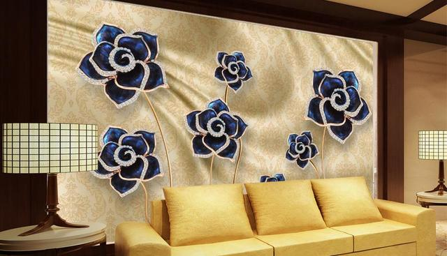 Embossed blue dining room wallpaper nonwoven wallpaper Rose jewelry ...
